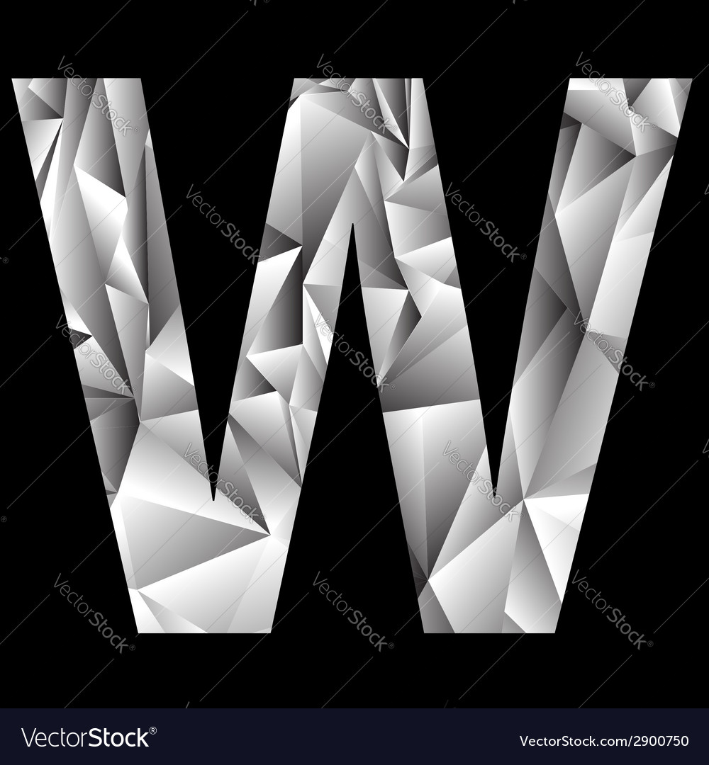 Crystal letter w vector