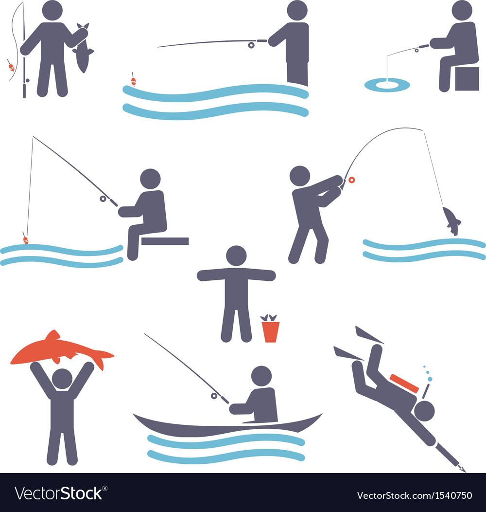 Fishing symbols vector