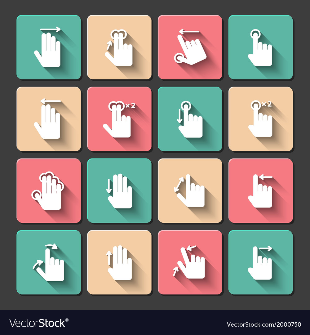 Hand touch gestures icons set vector
