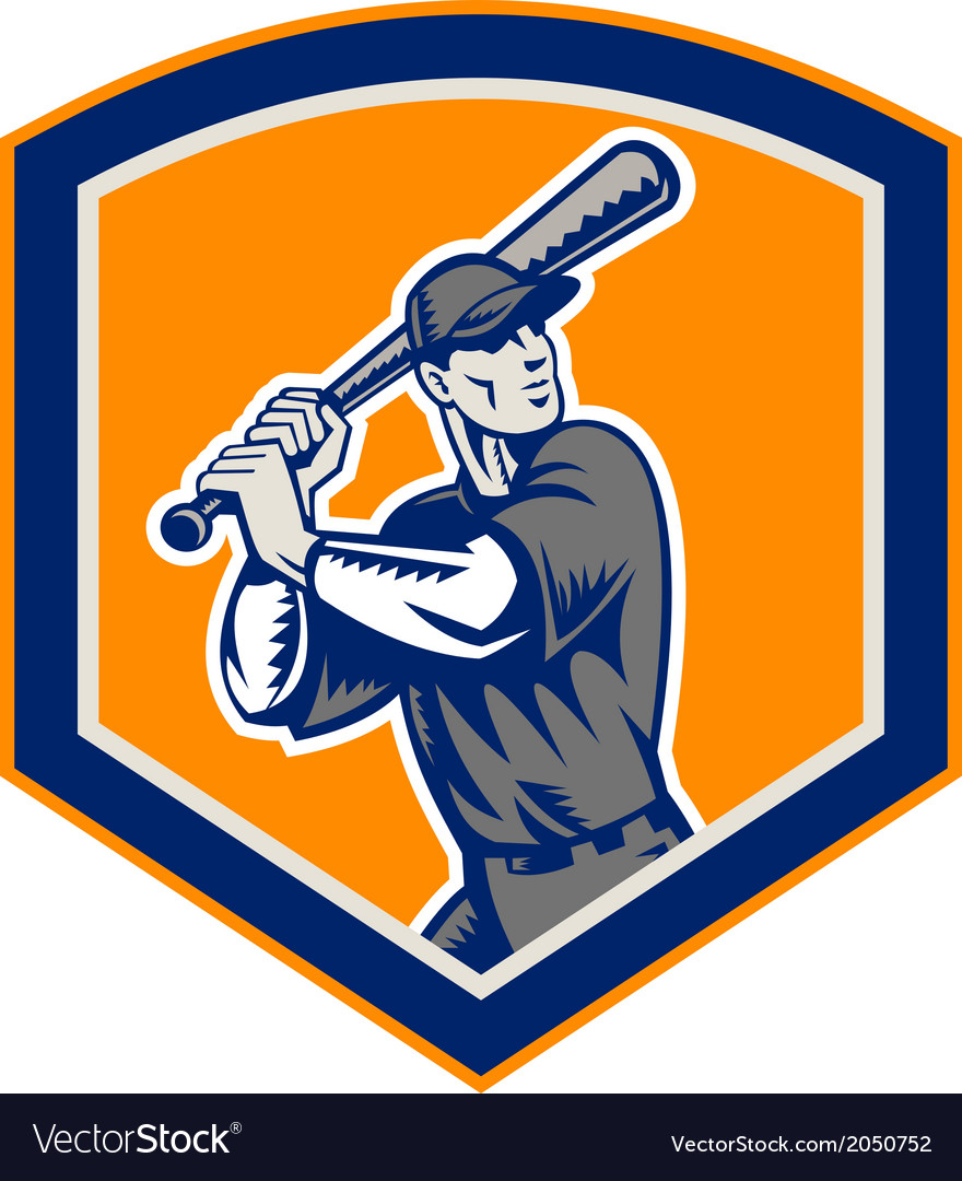 Baseball batter batting shield retro vector