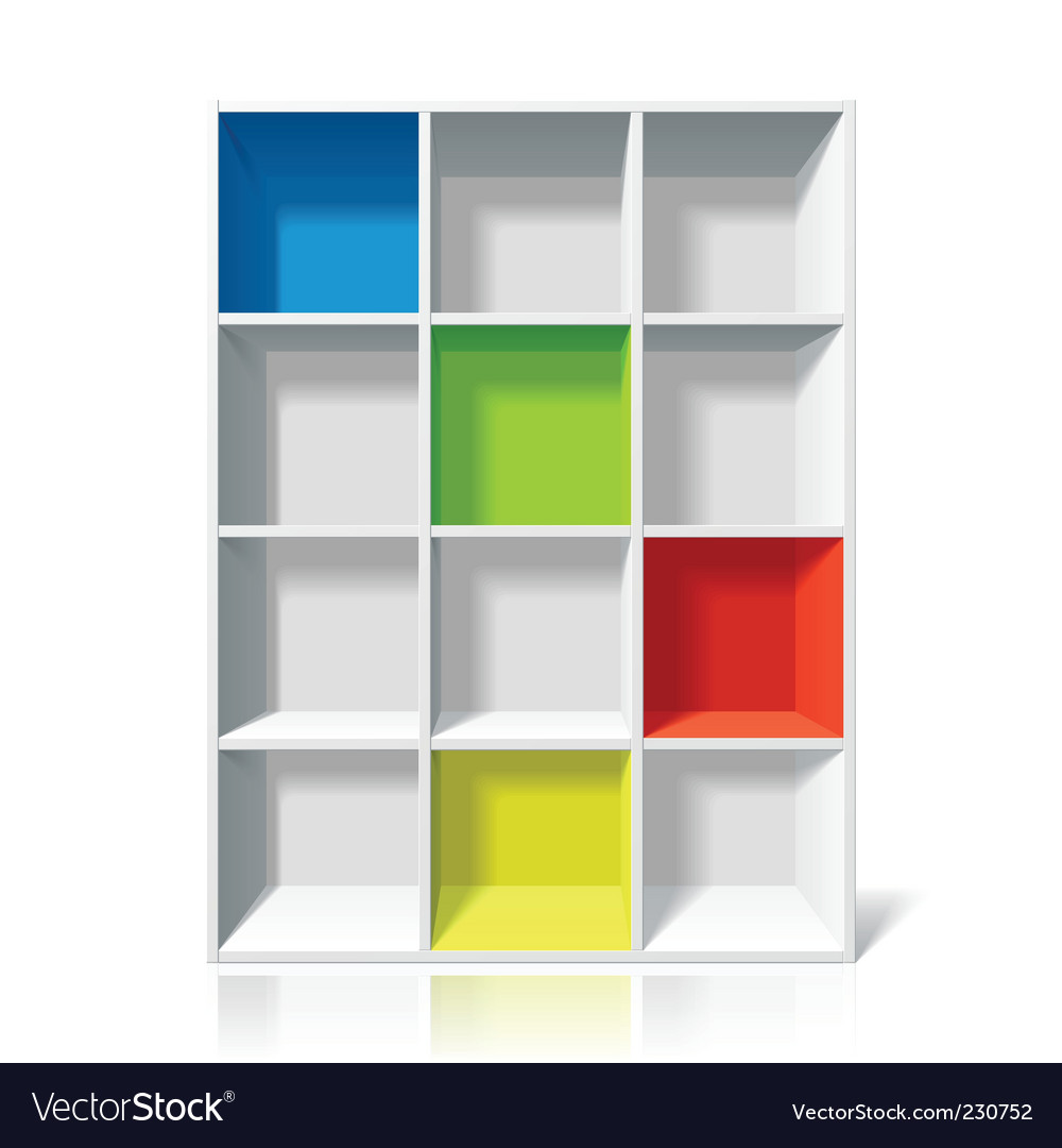 Empty bookshelf vector