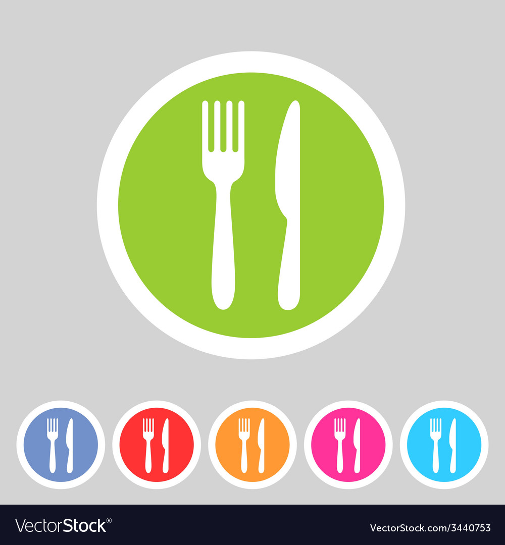 Fork knife flat icon shadow vector