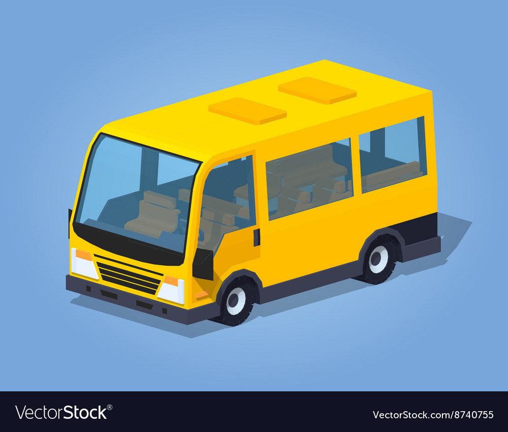 Low poly yellow passenger van vector