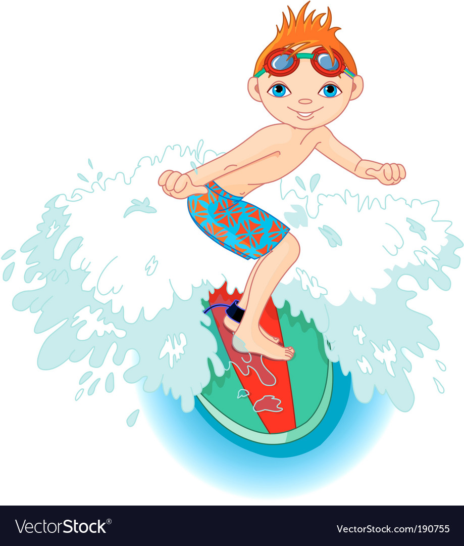 Surfer boy in action vector
