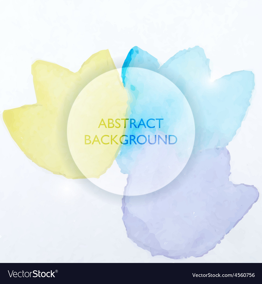 Abstract watercolor blue and yellow flowers vector