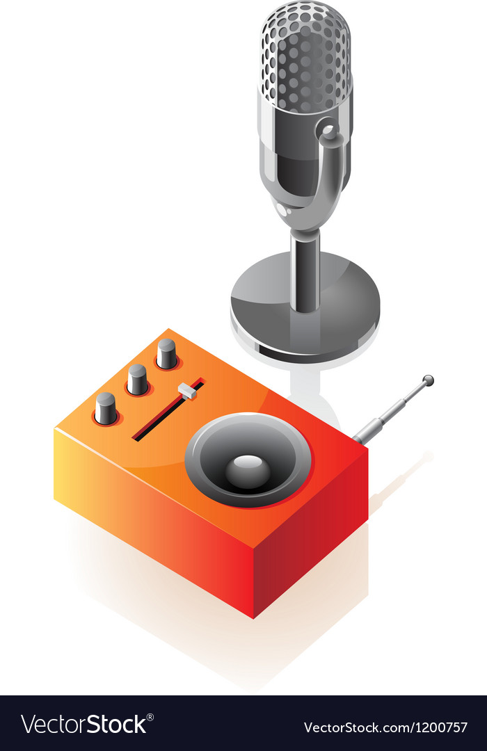 Isometric icons of microphone and radio vector