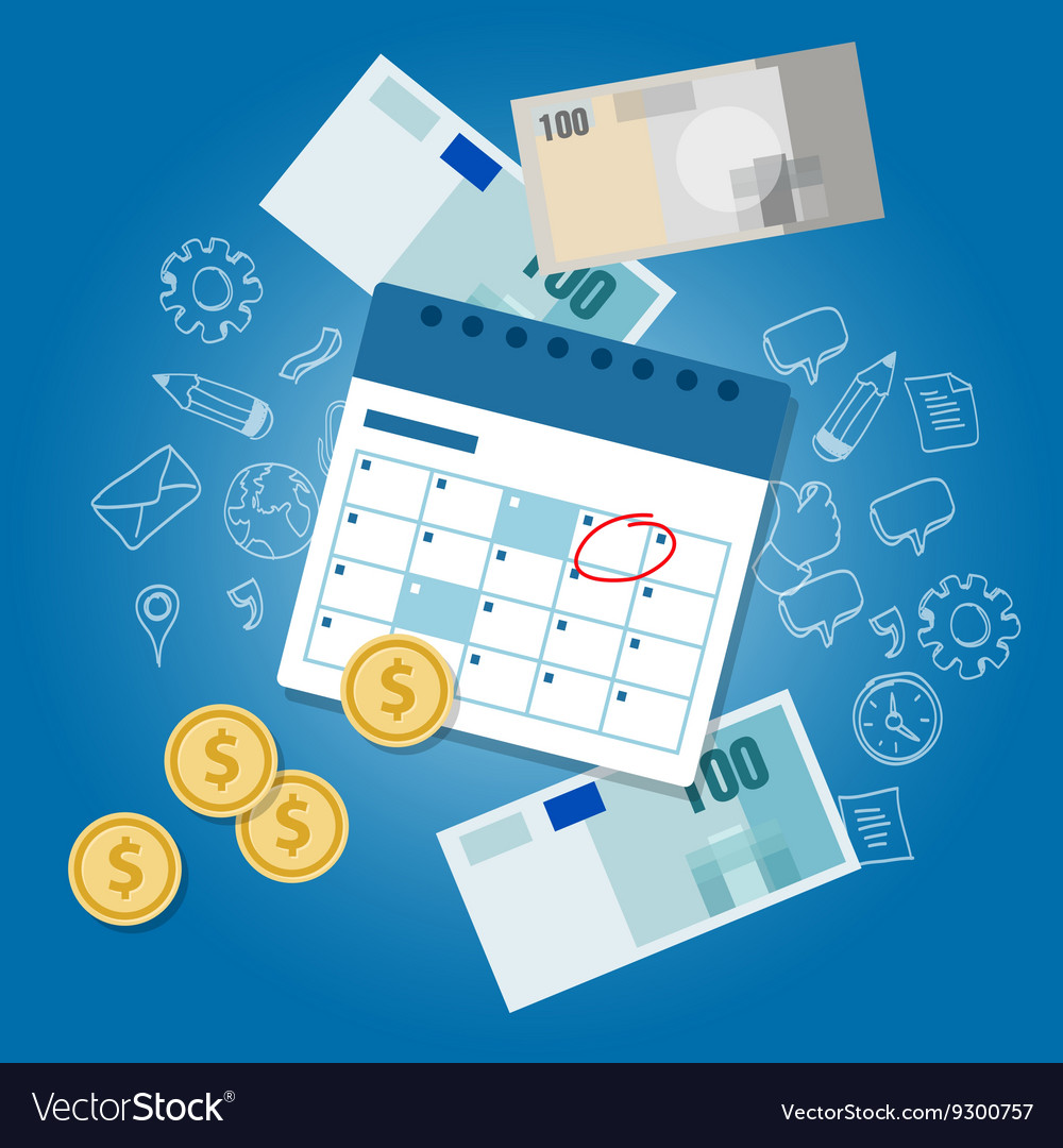 Payment schedule day calendar payday deadline vector