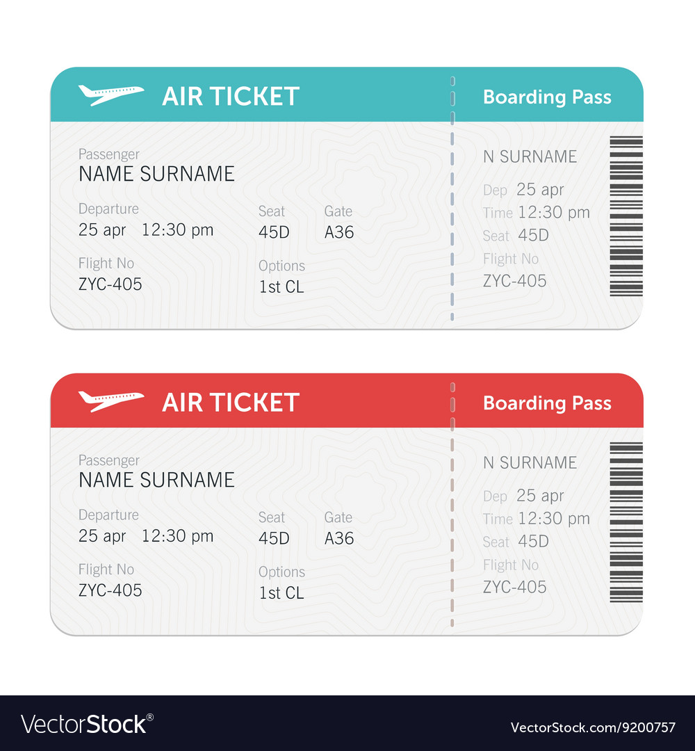 Set of the airline boarding pass tickets vector