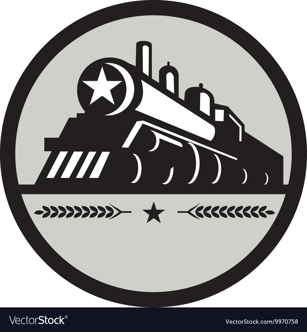 Steam train locomotive star circle retro vector