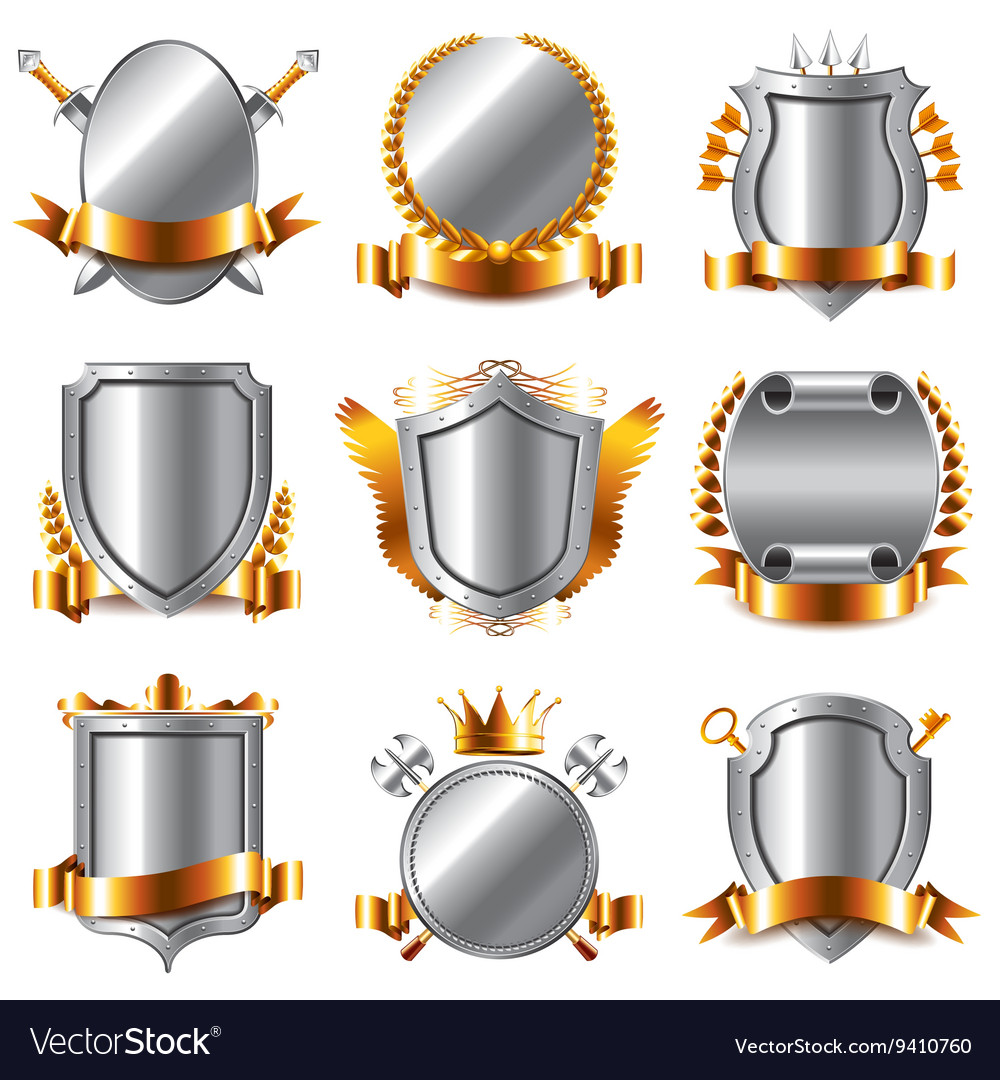 Crests and coat of arms icons set vector