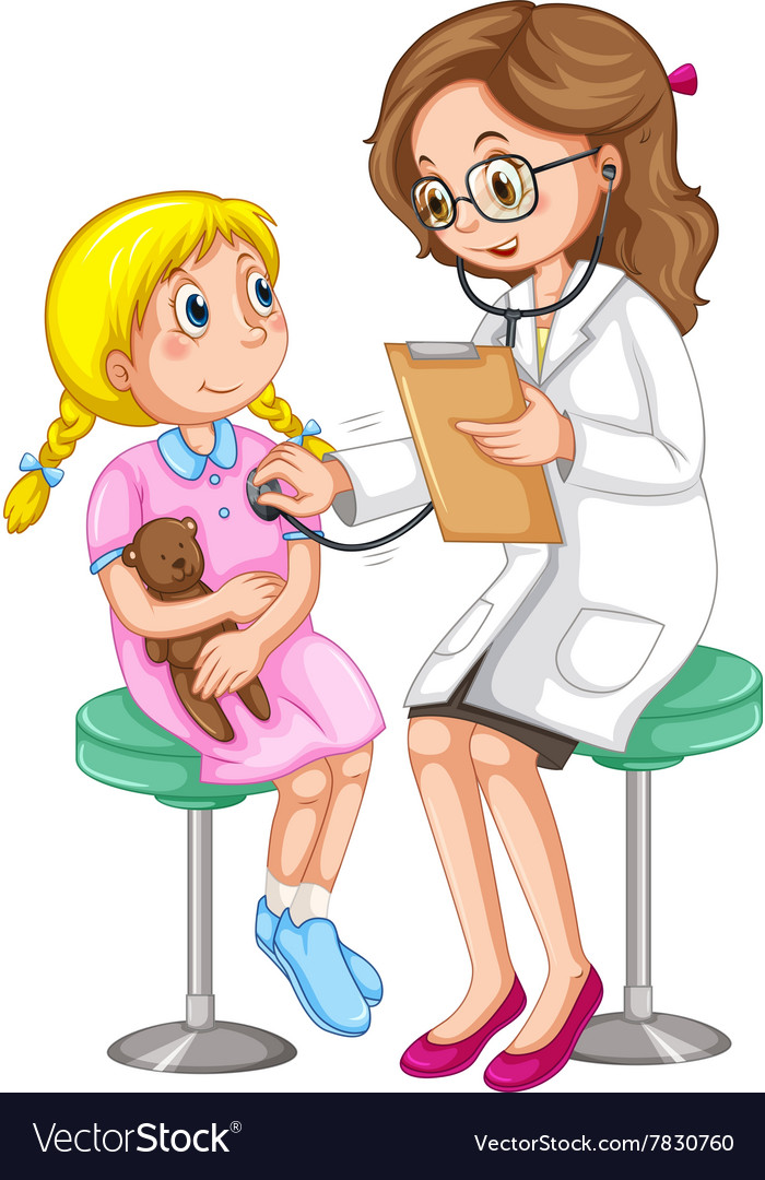 Doctor examining little girl vector