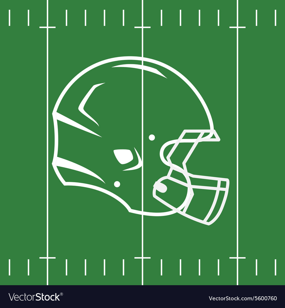 Flat design of football field and helmet vector