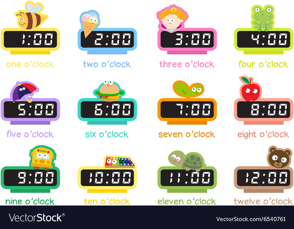12 colorful digital clocks vector