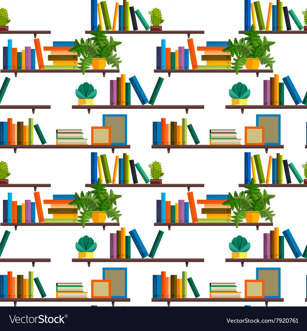 Flat line colorful seamless pattern of books vector