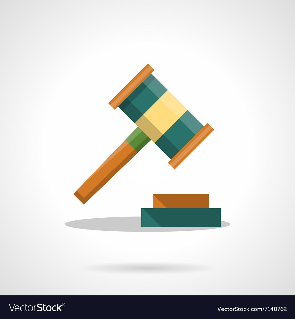 Auction gavel flat color icon vector
