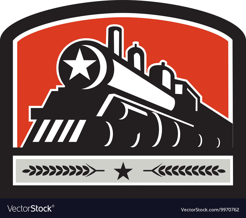 Steam train locomotive star crest retro vector