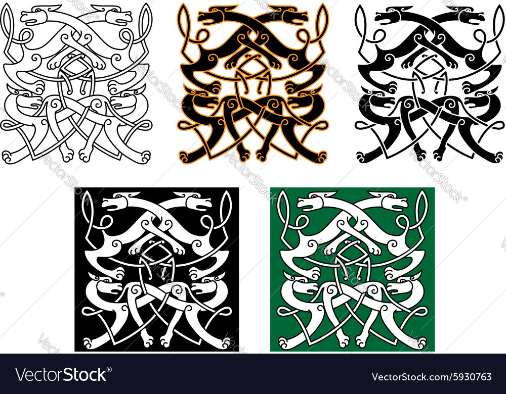 Fighting wolves celtic pattern ornament vector