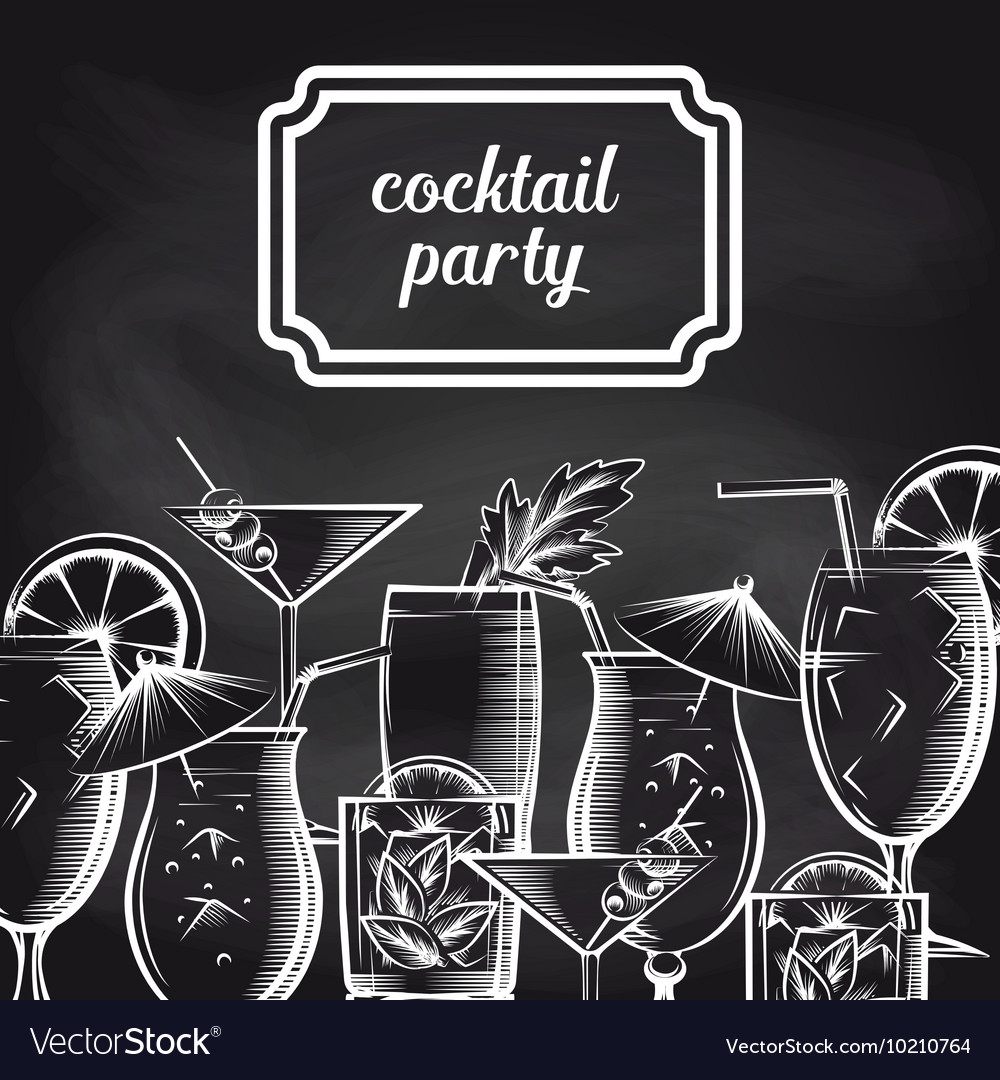 Cocktail party chalkboard background vector