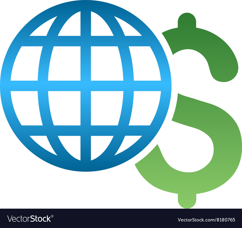 Global business gradient icon vector