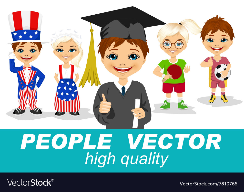 People with children s characters vector