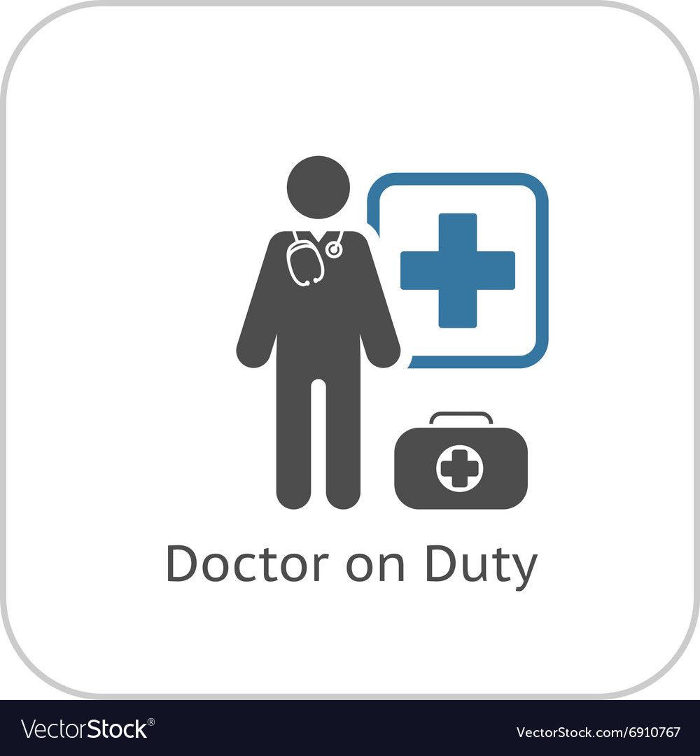 Doctor on duty icon flat design vector