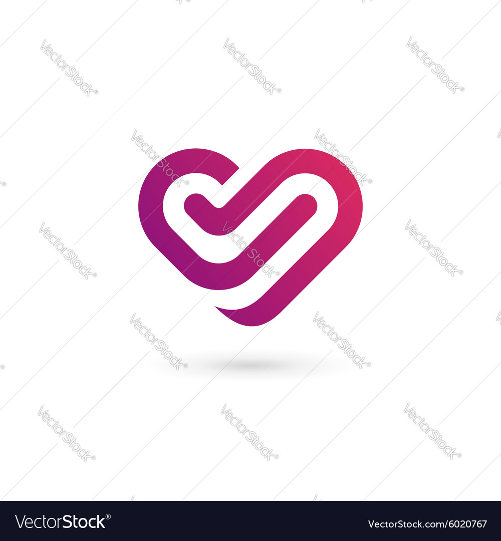Letter v heart symbol logo icon design template vector