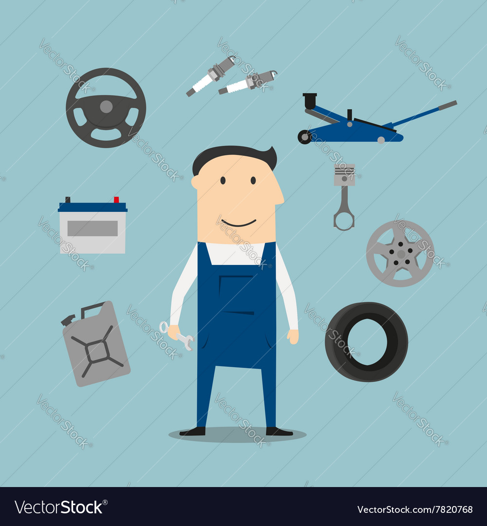 Car mechanic profession and equipment icons vector