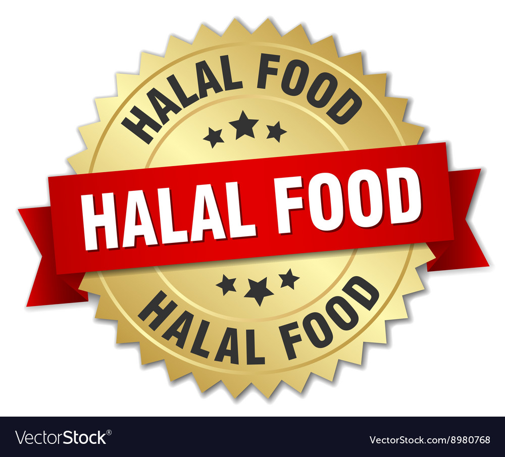 Halal food 3d gold badge with red ribbon vector
