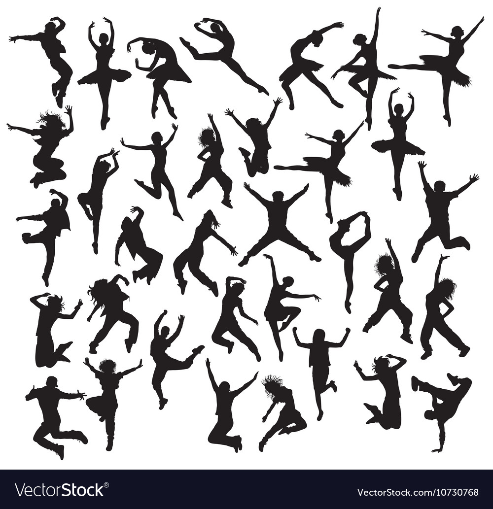 Happy dancer silhouettes vector