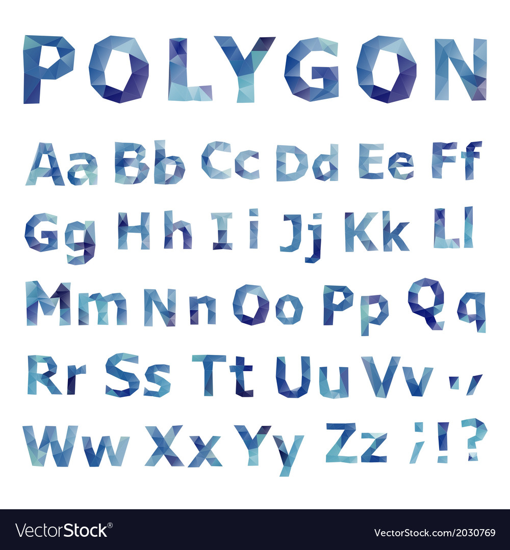 Alphabet polygonal font set vector