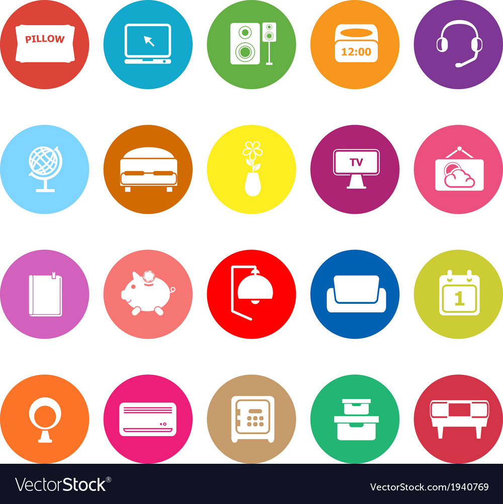 Bedroom flat icons on white background vector