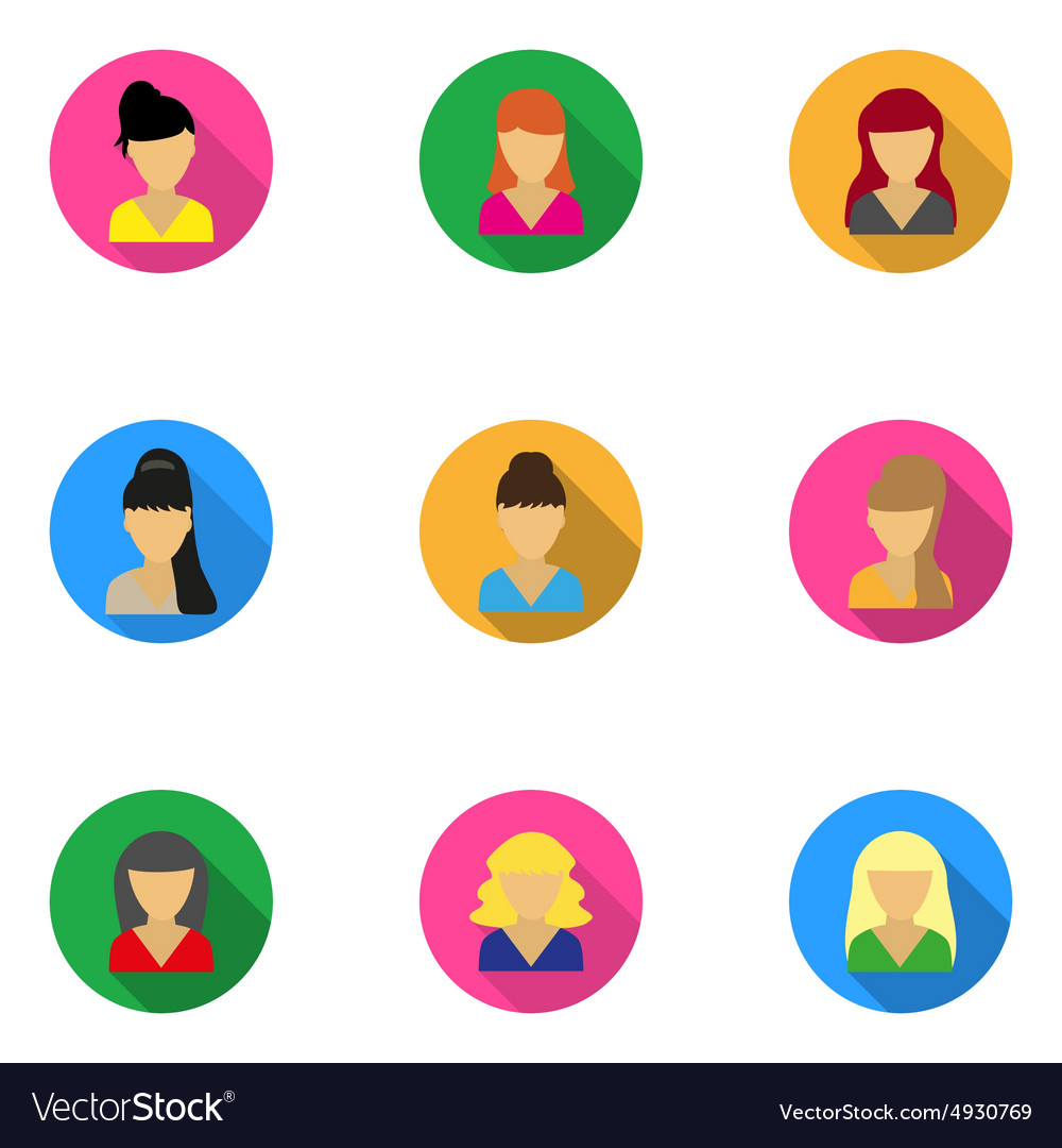Flat icons templates women vector