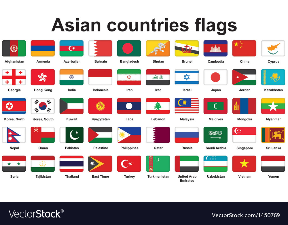 Set of asian countries flags icons vector