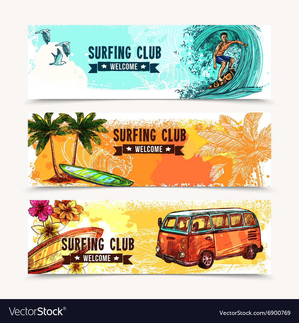 Surf banner set vector