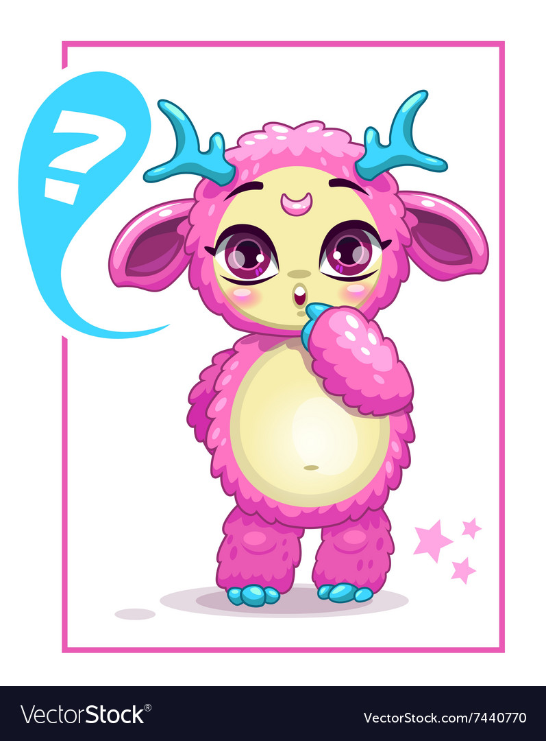 Cartoon cute pink monster vector