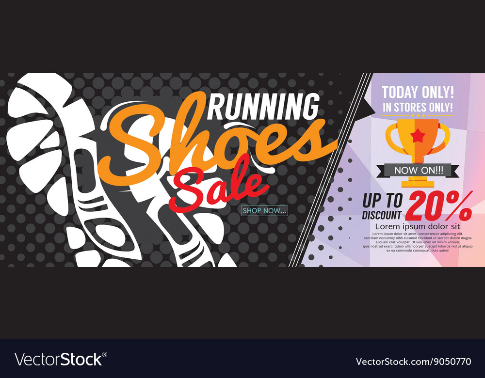 Running shoes sale 6250x2500 pixel banner vector