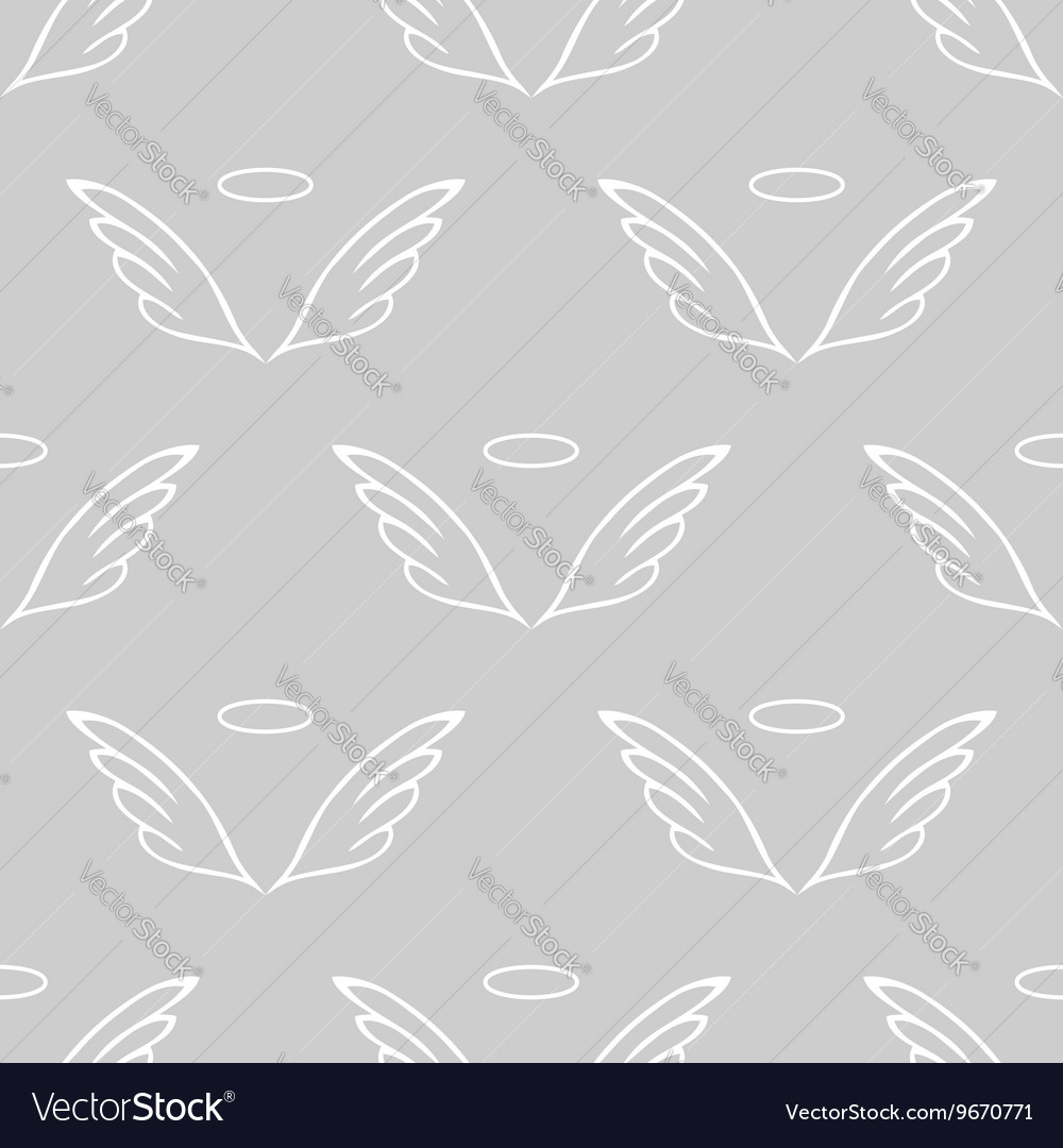 Angel wings gray sketch pattern vector