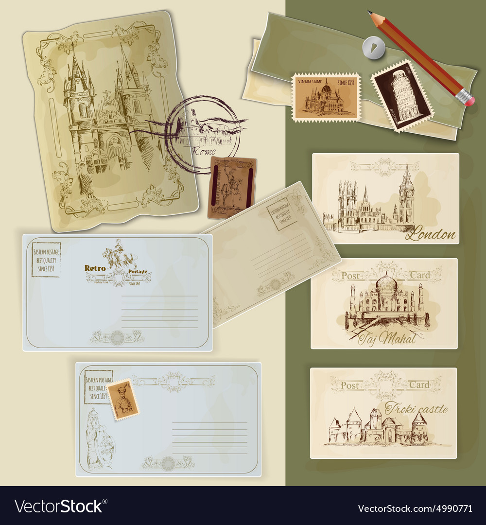 Vintage postcards set vector