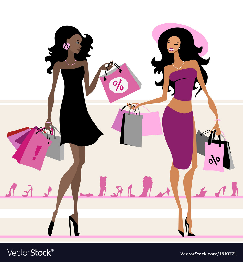 Women shopping bags vector