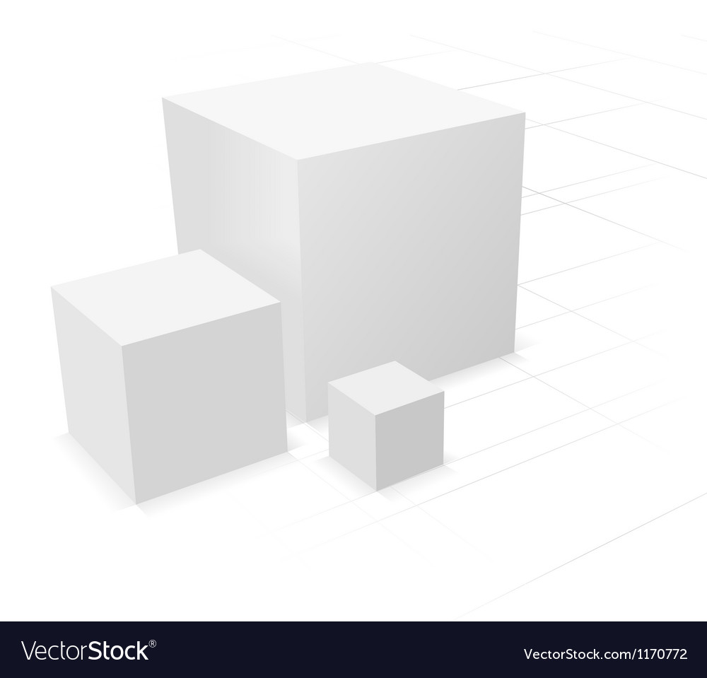 3d abstract background three cube vector