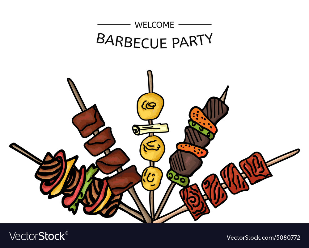 Colorful of a bbq party on a vector