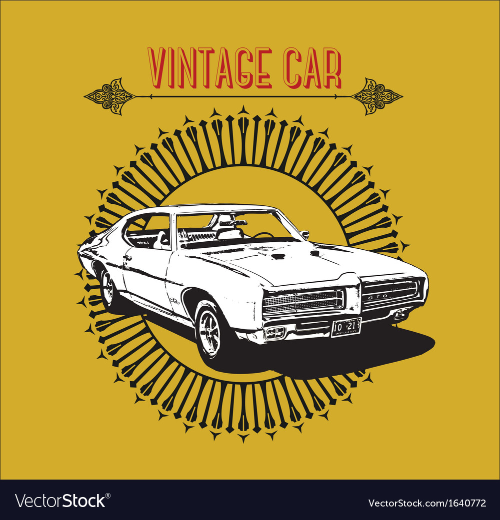 Retro poster vintage car vector