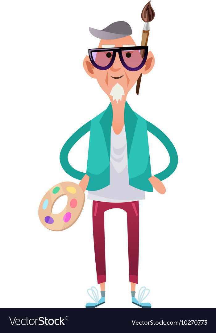 Old artist man in cartoon style vector
