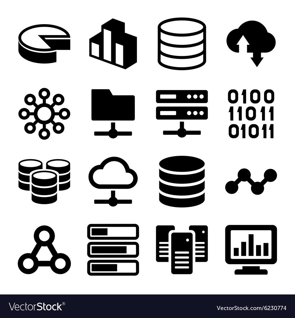 Big data analytics icons set on white background vector