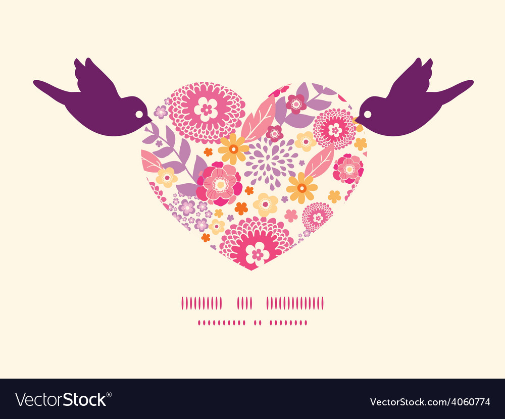 Warm summer plants birds holding heart vector
