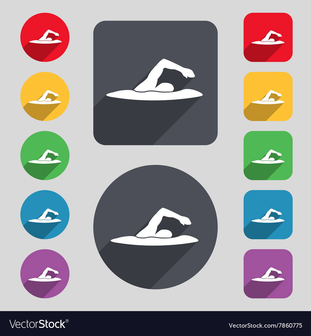 Swimmer icon sign a set of 12 colored buttons and vector