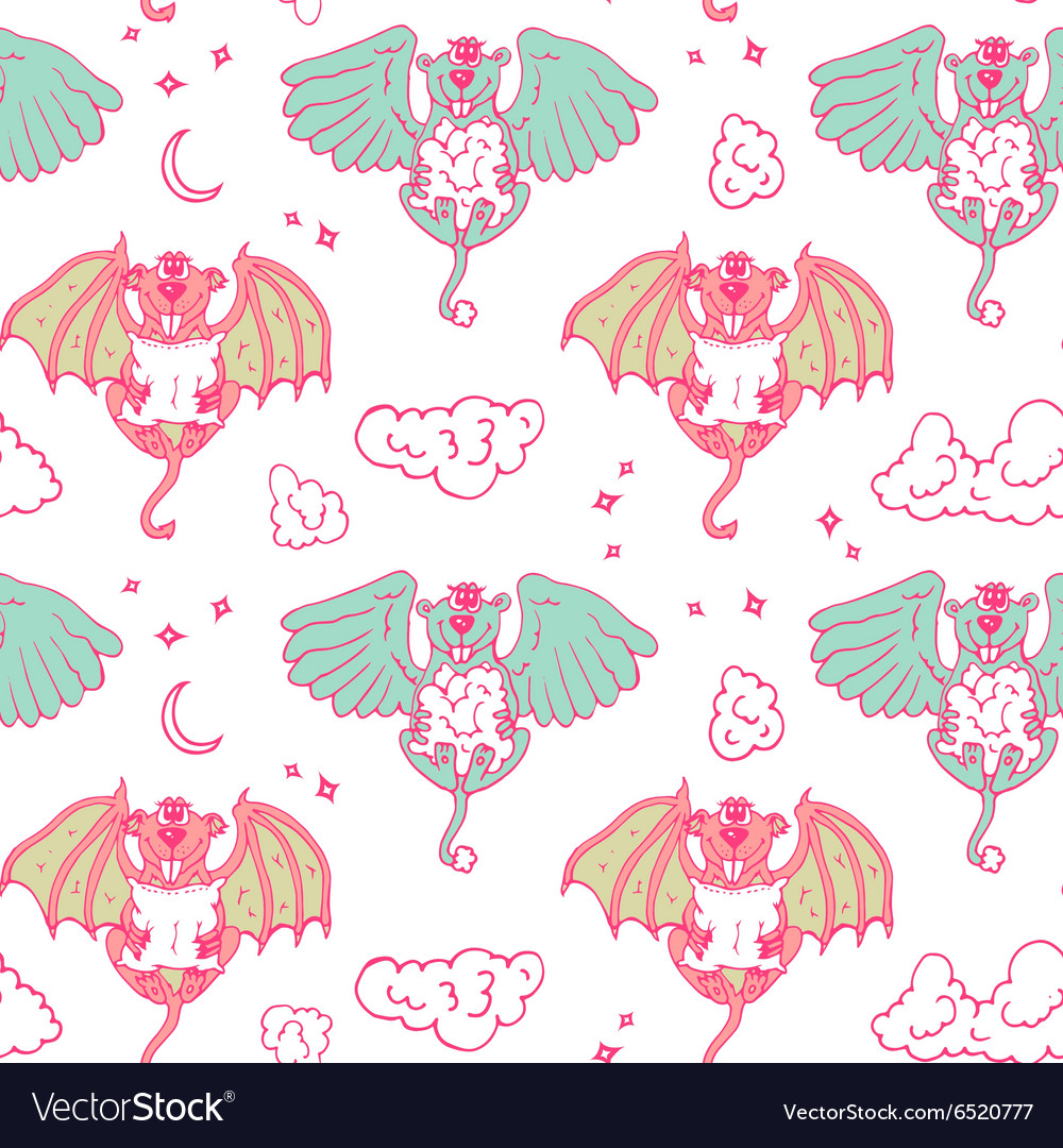 Cartoon pattern with monsters angel and yo vector