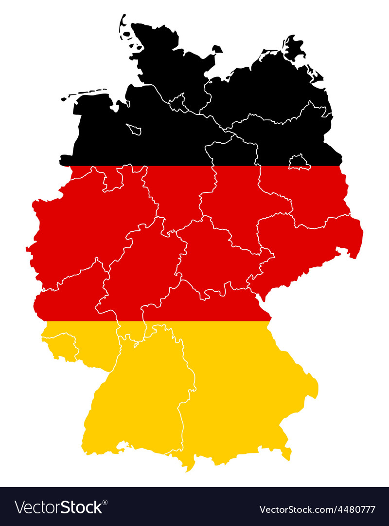 Map and flag of germany vector