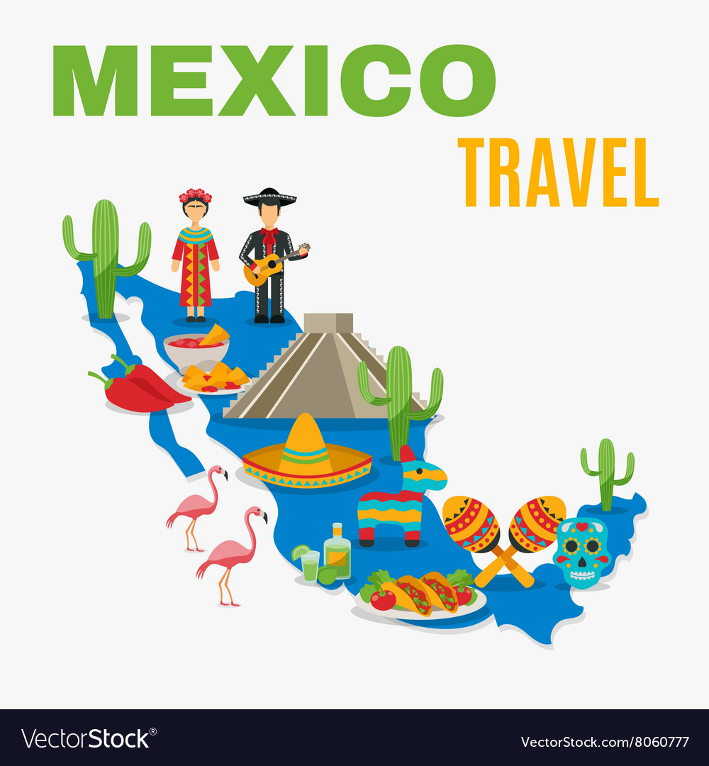 Map mexico background vector