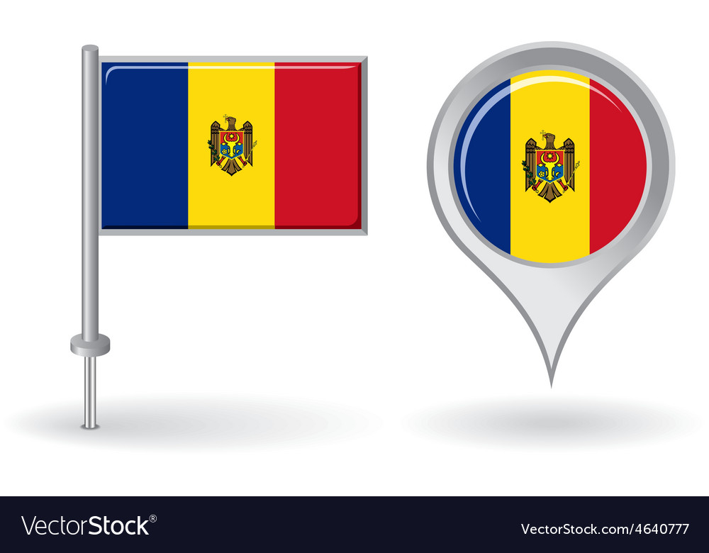 Moldovan pin icon and map pointer flag vector